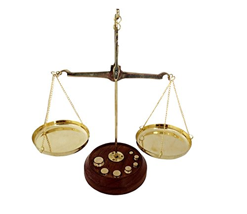 Ridhi Home & Decor Brass Decorative Weighing Scale Set, 10 g (Golden and Brown) Price & Reviews