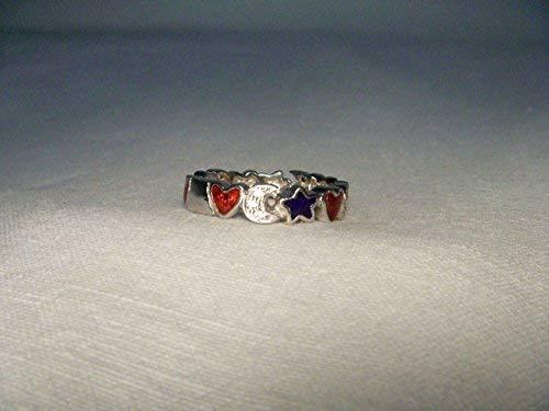 Gorgeous Authentic 18K White Gold Hidalgo Diamond Enamel Heart Moon Star Band
