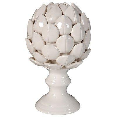 A&B Home Ceramic Artichoke Statue Finial, 10-Inch, White