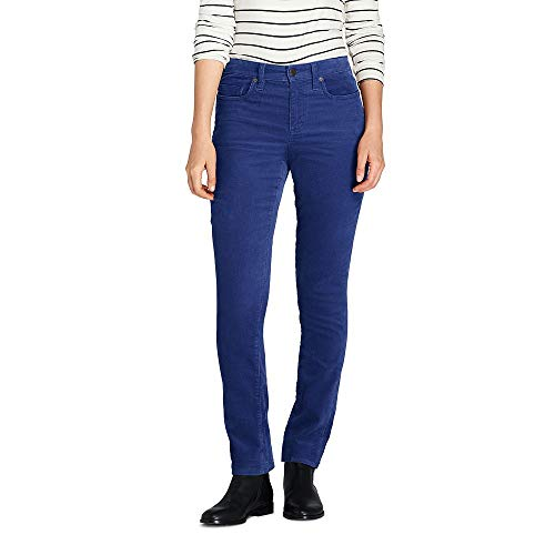 Blues Corduroy Straight Leg (Lands' End Women's Petite Mid Rise Straight Leg Corduroy Pants, 4 28, Lapis Blue)