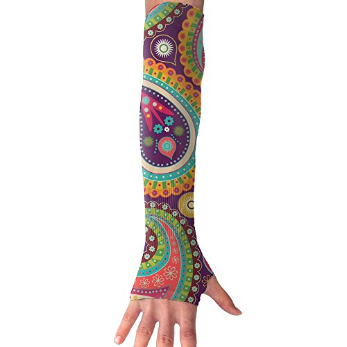UV Sun Protection Arm Sleeve Thumb Hole Breathable Ice Silk Compression Glove Paisley Kaleidoscope Print,Outdoor (Kaleidoscope Ice)