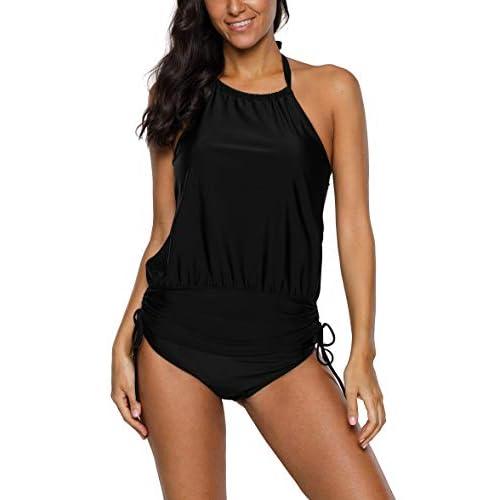 BeautyIn Damen Tankini Sets Blouson Halter Zweiteiliger Badeanzug Sportlich Schwimmanzug Bademode