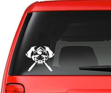 Firefighter Skull with Axe Vinyl Decal Sticker Window Glass Car Truck