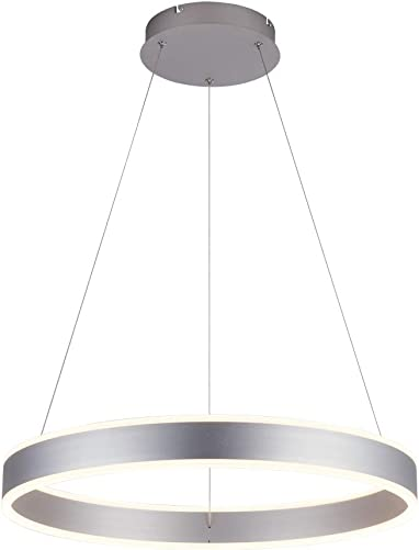 ROYAL PEARL Modern Foyer Pendant Light Dimmable LED Chandelier Adjustable Hanging Pendant Lighting Silver 76W