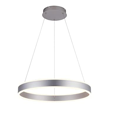 ROYAL PEARL Modern Foyer Pendant Light Dimmable LED Chandelier Adjustable Hanging Pendant Lighting Silver 76W for Living Dining Room Bedroom