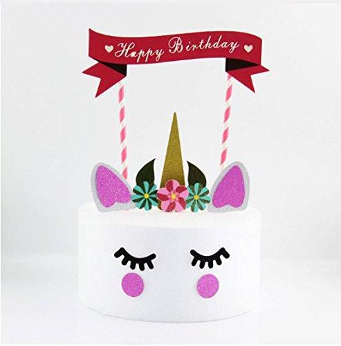 Price comparison product image Cartoon DIY Cake Topper Pick Unicorn Cupcake Topper Birthday Wedding Party Cake Dessert Decoration