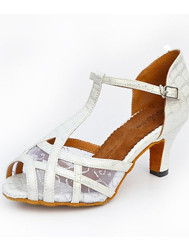 La mode moderne femmes Sandales Chaussures de danse salsa de similicuir Talon évasé noir/blanc/or,Blanc/US8.5 UK6.5/UE39/CN40