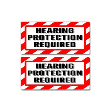 Warning Hearing Protection - Hearing Protection Required Sign - Alert Warning - Set of 2 - Window Business Stickers