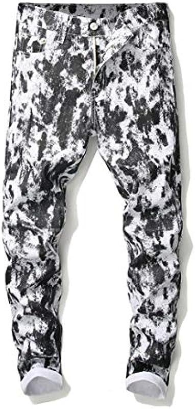 BHKDORBSC Die schwarzen Punkte der Männer Druckten weiße Jeans-Art- und Weiseschmal geschnittene Ausdehnungsbaumwolldenim-Hosen: Odzież