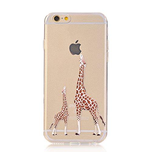 LUOLNH iPhone 6 Plus Case,iPhone 6S Plus Case, [New Creative Design] Flexible Soft TPU Silicone Gel Soft Clear Phone Case Cover for iPhone 6 Plus/6S Plus 5.5 inch,(2 Giraffe)