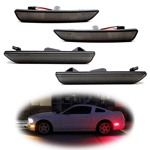 iJDMTOY Smoked Lens Amber/Red Full LED Side Marker Light Kit For 2010-14 Ford Mustang, Powered by Total 144-SMD LED, Replace OEM Sidemarker Lamps