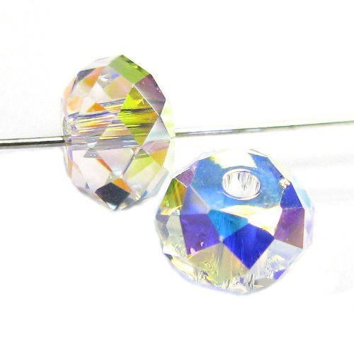 12 pcs Swarovski Crystal 5040 Briolette Rondelle Bead Spacer Clear AB 4mm / Findings / Crystallized (Mm Briolettes Crystal)