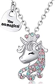Lanqueen Unicorn Necklace for Girls Crystal Pendant Necklaces Unicorn Jewelry for Teens Girls Daughter Grandda