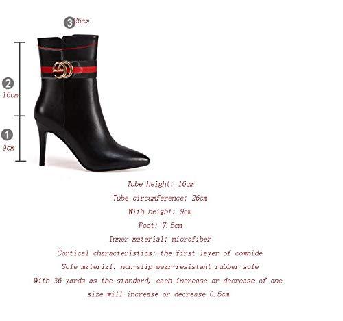 Shirloy Mid-Tube Damenstiefel Stiletto hochhackige Spitze römische Stiefel Leder Größe Größe Größe Damenstiefel Sexy Charm Stiefel abddfa