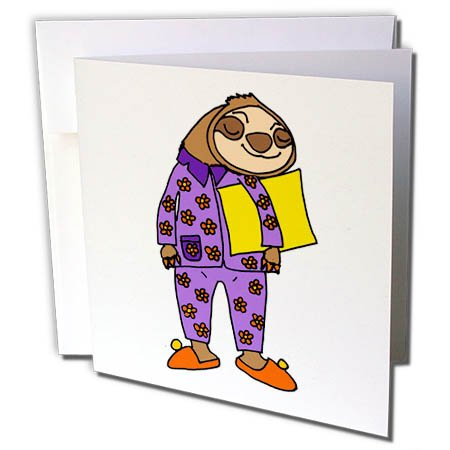 3dRose All Smiles Art Animals - Funny Cool Sloth Wearing Purple Flowered Pajamas Cartoon - 1 Greeting Card with envelope (gc_275740_5)