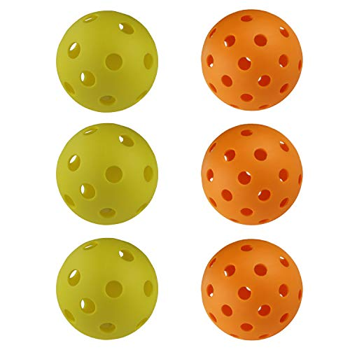 EasyTime Pickleball Balls Indoor Balls with 26 Drilled Holes & Outdoors with 40 Small Precisely Drilled Holes (Both 6-Pack)