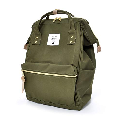 Anello Official Leaf Green Japan Fashion Shoulder Rucksack Backpack Casual Laptop Tablet Bag Unisex, Khaki, Large
