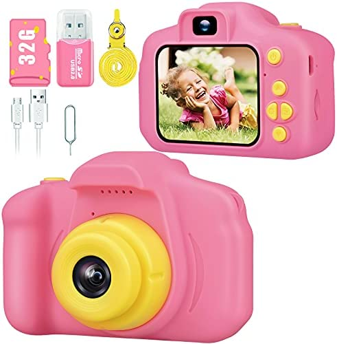 Desuccus Kids Camera Toys for Girls HD 1080p Camera for Kids Little Girls Camera Toy Video Digital Camera for Girls Christmas Birthday Gifts for Girls Age 3-8 Year Old 32GB SD Card 5 Fun Games (Pink)