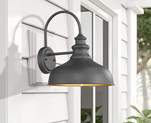 Bestshared Farmhouse Wall Mount Lights, Gooseneck Barn Light, 2 Pack Outdoor Wall Lantern for Porch in Black Finish with… - Black Finish with Copper Interior: the Black Finish fit any decor while the copper interior reflects light perfectly to form a extremely accent contrast Simple Industrial Design: The simple, traditional design of this light fixture looks great with any style of decor Bulb Requirement: Hard wired. Requires 1x E26 base bulb(Max.100W). BULB NOT INCLUDED. - patio, outdoor-lights, outdoor-decor - 41ooTEAAXjL -