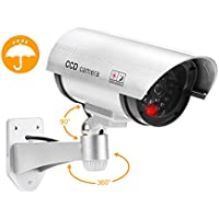 Dummy Fake Bullet Camera Surveillance Security CCTV Dome Cameras Indoor Outdoor with one LED Light + Warning Security Alert Sticker Decals Silver