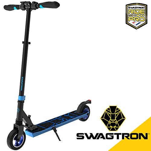 Swagtron Swagger 8 Folding Electric Scooter for Kids & Teens | Lightweight E-Scooter for Young Adults w/Kick-to-Start, Cruise Control | Adjustable Stem, Suspension, Quiet Motor (IPX4) (Blue)