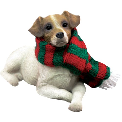 Sandicast Jack Russell Terrier with Red and Green Scarf Christmas - Russell Jack Ornament