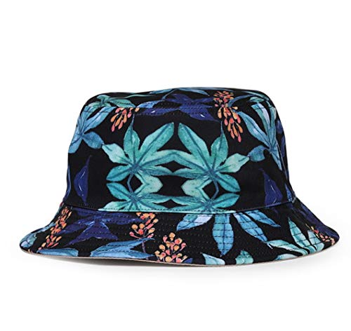 - Quanhaigou Unisex Bucket Hat Reversible Fisherman Hat Weed Leaf Printed Solid Color Outdoor Sun Hat Packable.