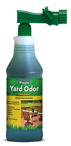 NaturVet - Yard Odor Eliminator - Eliminate Stool and Urine Odors from Lawn and Yard - Designed for Use on Grass, Plants, Patios, Gravel, Concrete & More - 31.6 oz Ready-to-Use with Nozzle (Best Way To Remove Urine Smell From Concrete)