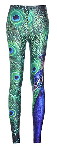 Sister Amy Women's High Waist Geometric Printed Ankle Elastic Tights Leggings Peacocks US 0-12