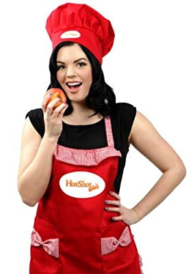 Ladies Red Kitchen Apron and Chef Hat Set - for Women and Girls, - Use in Home, Restaurants for Cooking and Grilling from FreedomShaper