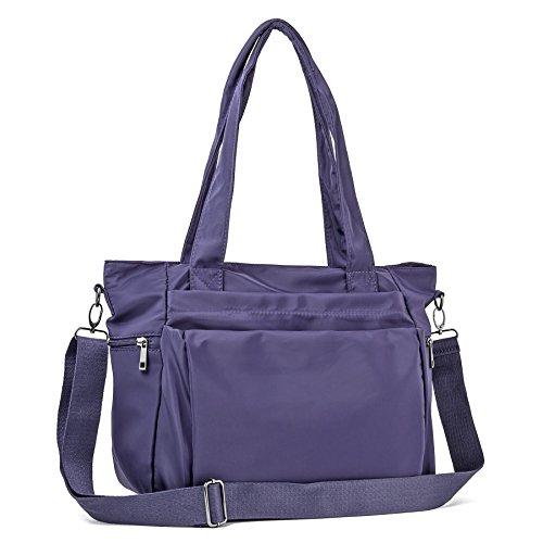 - ZORESS Women Fashion Large Tote Shoulder Handbag Waterproof Multi-function Nylon Travel Messenger Bags (Purple)