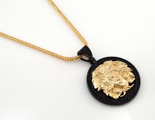 Chris Brown's Hip-Hop Bling Medusa Head Gold And Black Tone 2 Chainz Pendant with Free 36