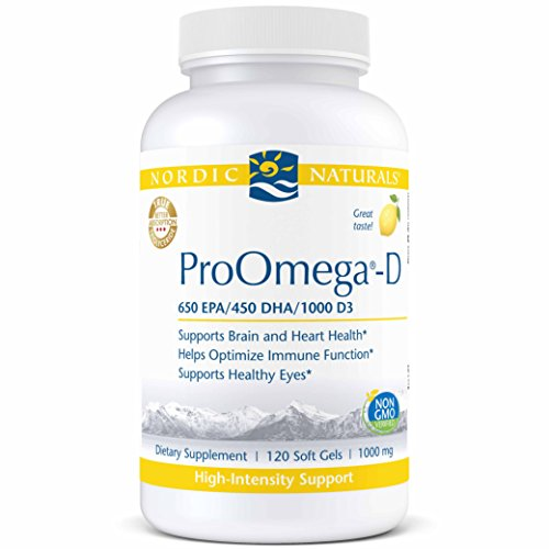 Nordic Naturals ProOmega-D - Fish Oil, 650 mg EPA, 450 mg DHA, 1000 IU vitamin D3 Cholecalciferol, Support for Cardiovascular, Neurological, Eye, and Immune Health*, Lemon Flavored, 120 Soft Gels