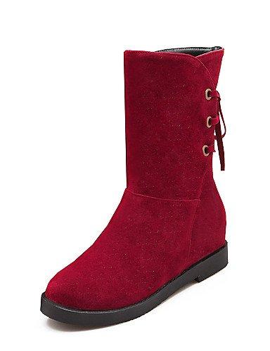 A Punta Beige 5 5 Negro us10 Redonda 5 De Moda Red Botas Beige Cuña Uk3 Eu36 Rojo Zapatos us5 Vellón 5 Xzz Cuñas Tacón Uk8 Cn43 Vestido Mujer La Cn35 Eu42 Casual YwzZq4
