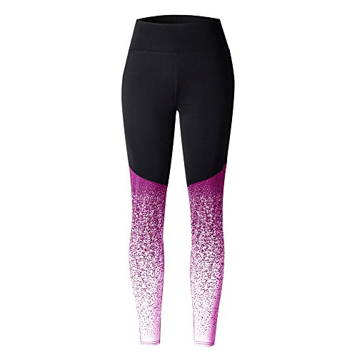 VOYOAO Womens Elastic Waist Performance Capri Legging Tummy Control Yoga(Hot Pink,M)
