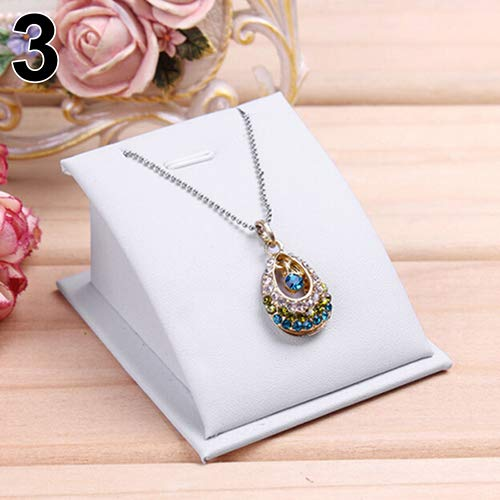 CYMB Necklace Pendant Display Holder Soft Velvet Jewelry Drop Chain Standing Stand - (Pendant Chain White Jewelry Display)