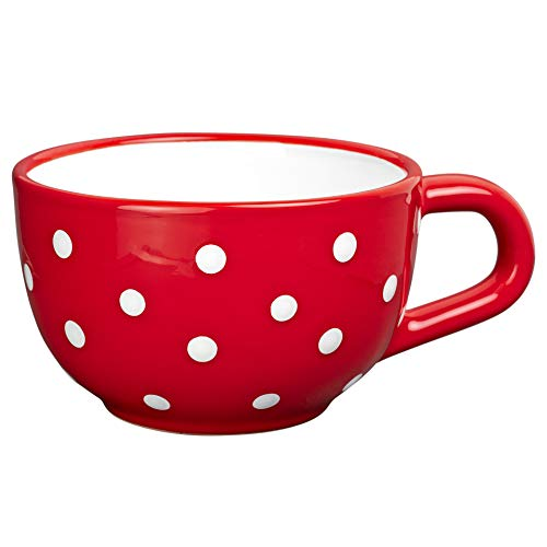 City to Cottage Handmade Ceramic Designer Red and White Polka Dot Cup, Unique Extra Large 17.5oz/500ml Pottery Cappuccino, Coffee, Tea, Soup Mug | Housewarming Gift for Tea Lovers