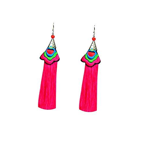 wintefei Lovely Girl Daily Makeup Ethnic Style Handmade Flower Tassel Jewelry Women Long Dangle Hook Earrings Rose Red -