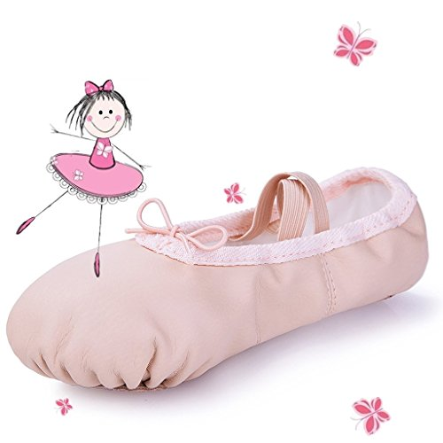 MSMAX White Leather Full Sole Casual Slipper Ballet Flat,Little Kid,2.5M US