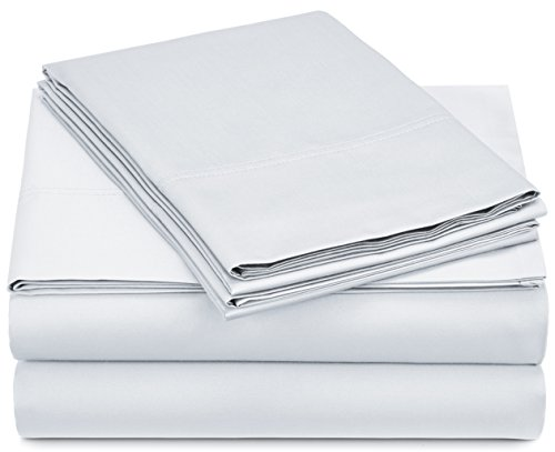 Pinzon 500-Thread-Count Pima Cotton Sateen Sheet Set - Queen, White (Sheets Bed Pima Cotton)