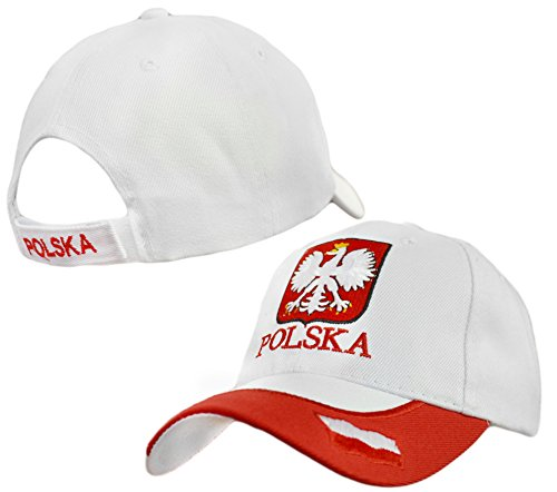 Polska Crest with Accent Velcro Adjustable Hat Poland Flag Emblem Polish Pride Cap – White