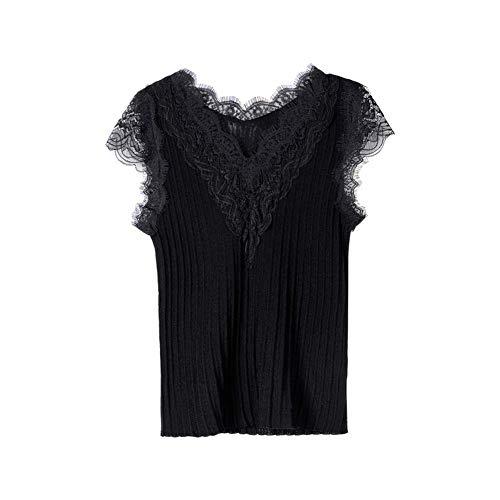 Dabuwawa Women's Knitted Lace Tank Tops Summer Sexy V-Neck Slim Vest Black from Dabuwawa