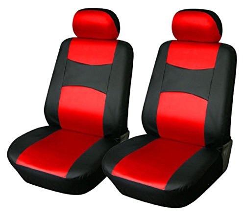 OPT Brand. Vinyl Leather 4PC SET Toyota Corolla Prius Highlander Camry 4Runner Land Cruiser Avalon Yaris RAV4 Prius C V 2 Front Car Auto Seat Covers, Red/Black Color, 77159-Red.