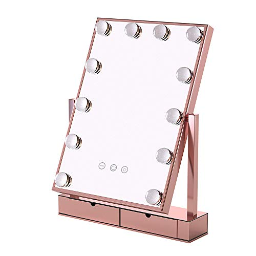 Vanity makeup mirror with lights Lighted Makeup Mirror Hollywood Mirror Vanity Makeup mirror with Light Smart Touch Control 3 Colors Dimable Light Detachable 10X Magnification 360 rotation