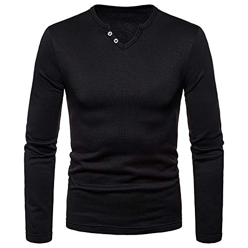 iLXHD 2018 Mens Casual Sweartshirts Solid Long Sleeve V-Neck T-Shirt Blouse Tee(Black,US S/CN ()