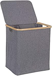 SWZJJ Laundry Basket with Lid, Large Bamboo Dirty Clothes Hamper with Handle, Waterproof Collapsible Laundry Hamper