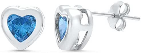 Aquamarine Bezel Heart Stud .925 Sterling Silver Earrings