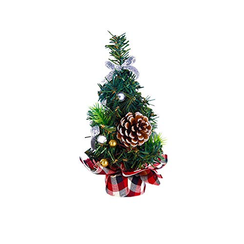 MXXGMYJ Merry Christmas Tree Decorations Small Mini Artificial Christmas Xmas Tree Decorated Desk Table Top Home Office Decor Decoration 7.8inch Silver (Trees Decorated Xmas)