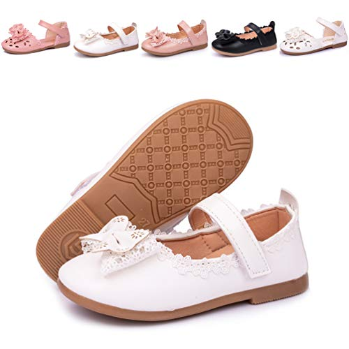 Meckior Toddler Baby Kids Girl's Sandals Mary Jane Flat Princess Dress Dance Party Cosplay First Walker Shoes (8 M US Toddler, A-White)