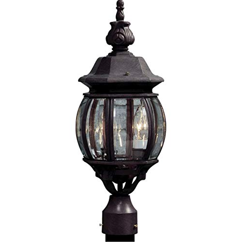 Outdoor Post 3 Light Bulb Fixture with Rust Finish Cast Aluminum Candelabra 8